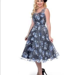 Unique Vintage Blue Floral Rose Pinup Form…